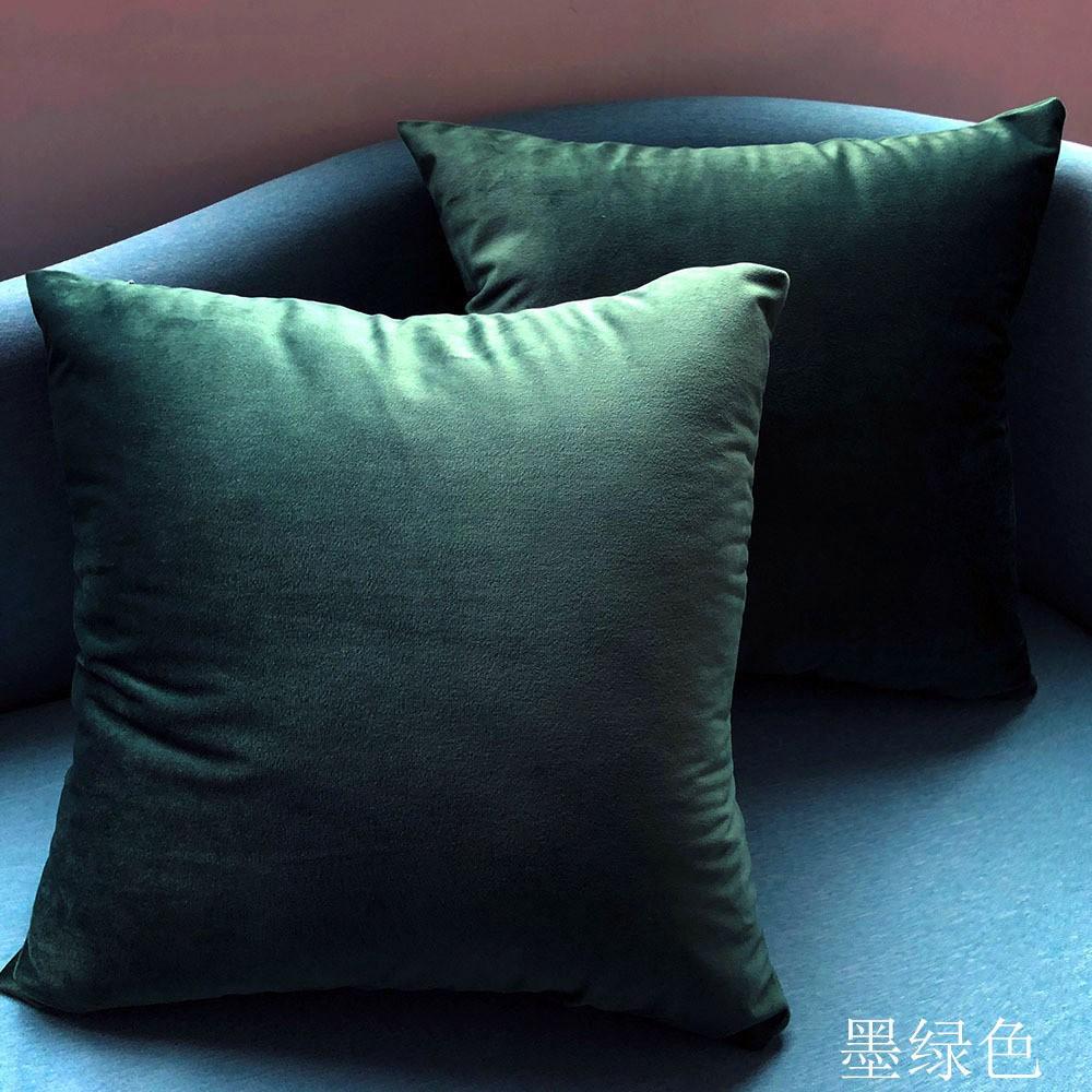 PLC1019 45x45cm Velvet Fabric Cushion Pillow Cover - Gem Green Color