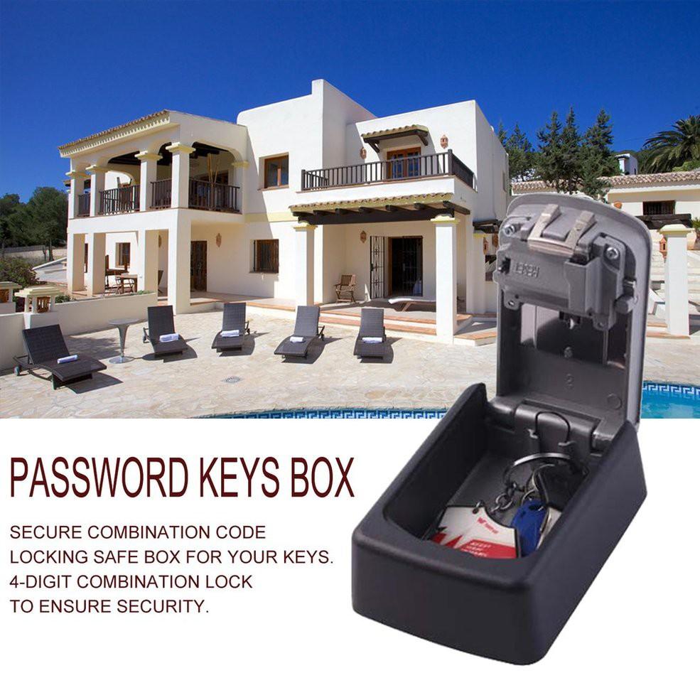 7cec3b382e0f 4 Digit Combination Password Keys Box Wall Mounted Home Security Key Box
