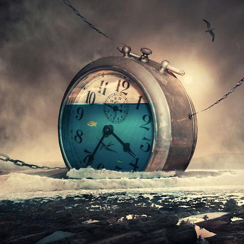 Diy Diamond Painting Stitch Alarm Clock Landscape Square