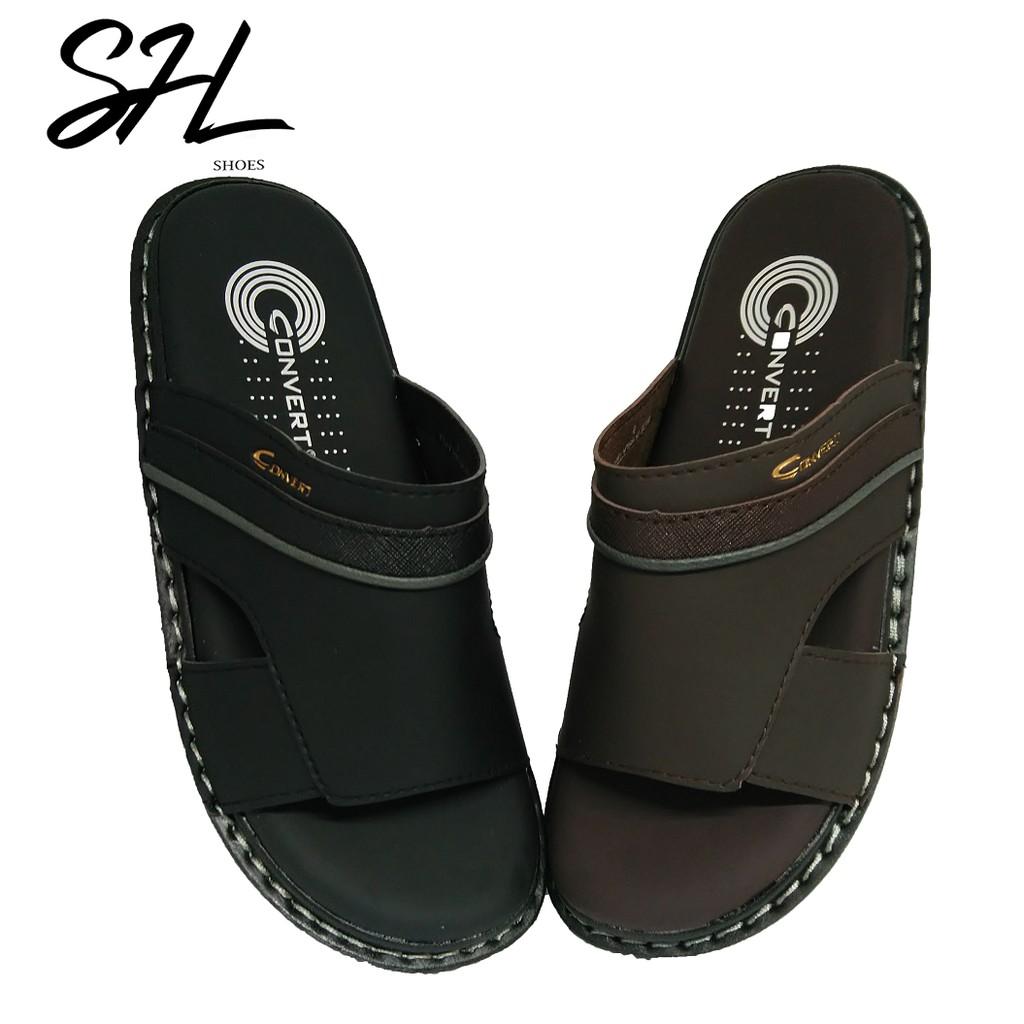SHL Convert Men's PU Leather Sandal Flip Flops Men Selipar Kasut Lelaki【男士拖鞋】