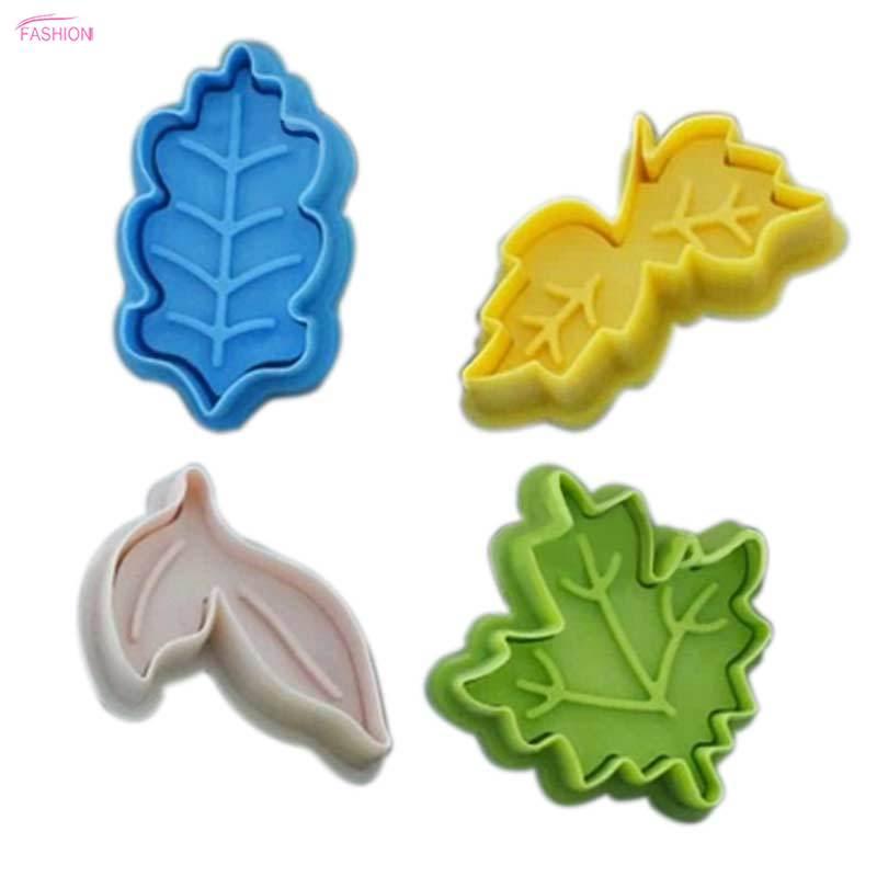 5cm 4Pcs Leaves Tree Leaf Cookie Cutter Fondant Plunger Cake Decorating Mold DIY