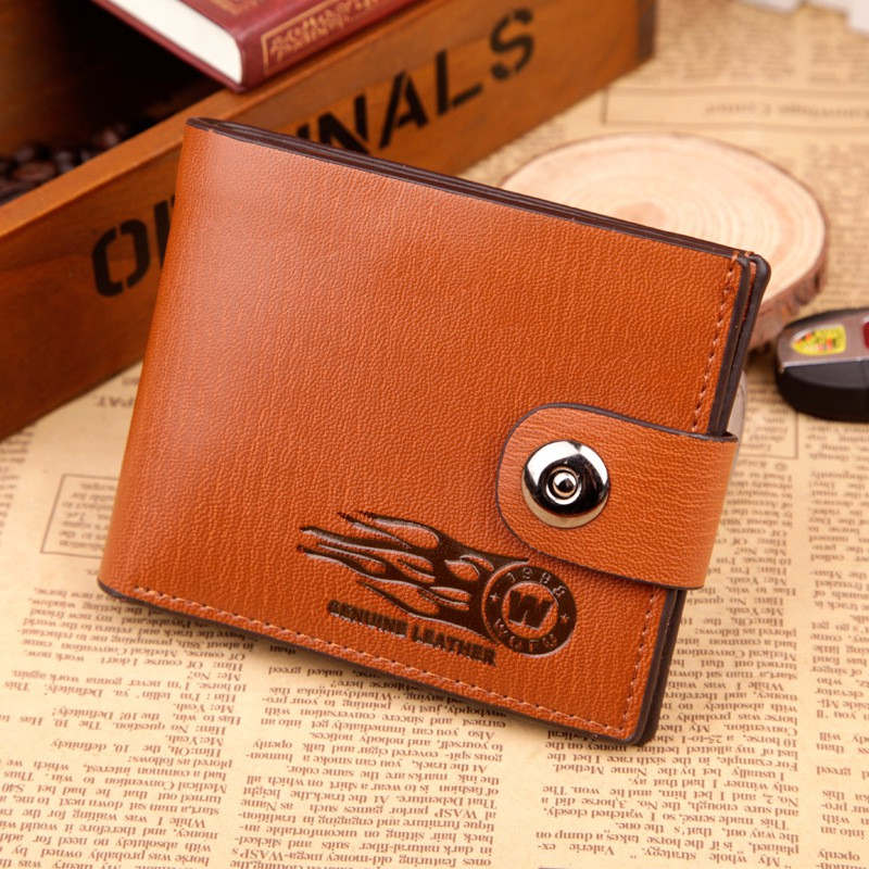 HENGSHENG men short wallets hasp fold wallet card holder purse coffee colors