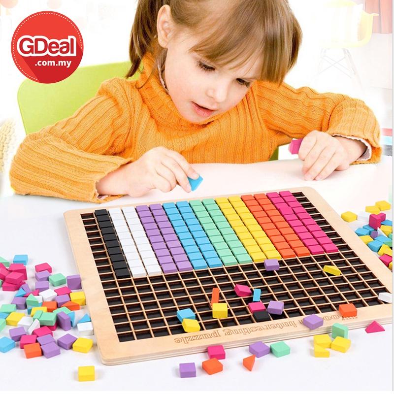 GDeal Wooden Pixel Block Puzzle Creative Building Block Toy Game For Kid Mainan Kanak Kanak ماءينن كانق كانق