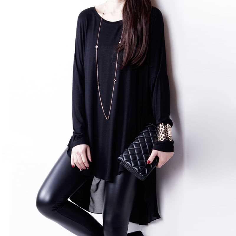 Fashion Women T-Shirt Chiffon Patchwork Asymmetric Hem O-Neck Batwing Sleeve Loose Top Black/White/Purple (Black)