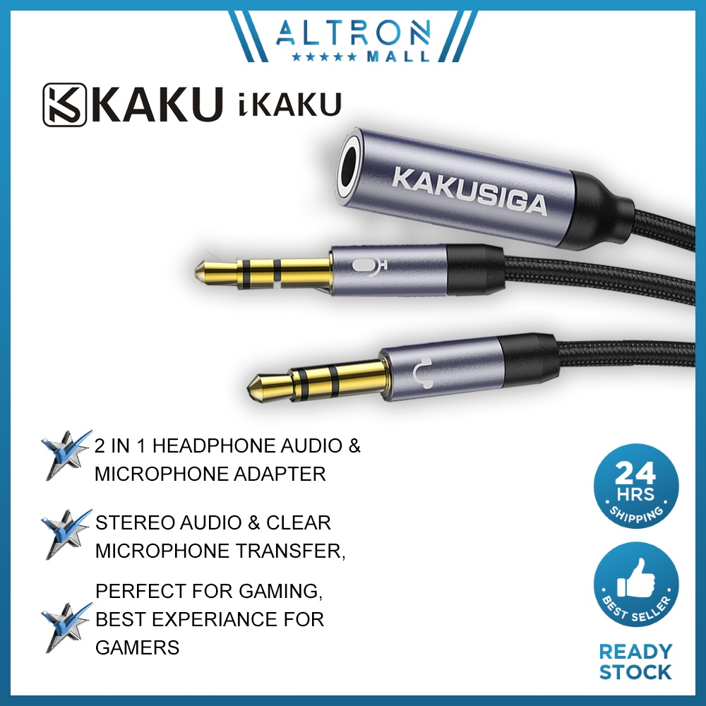 IKAKU KAKU FEITENG 3.5mm Male to 2 Port 3.5mm Female Aux Audio Stereo Y Splitter Cable Adapter Microphone Laptop PC