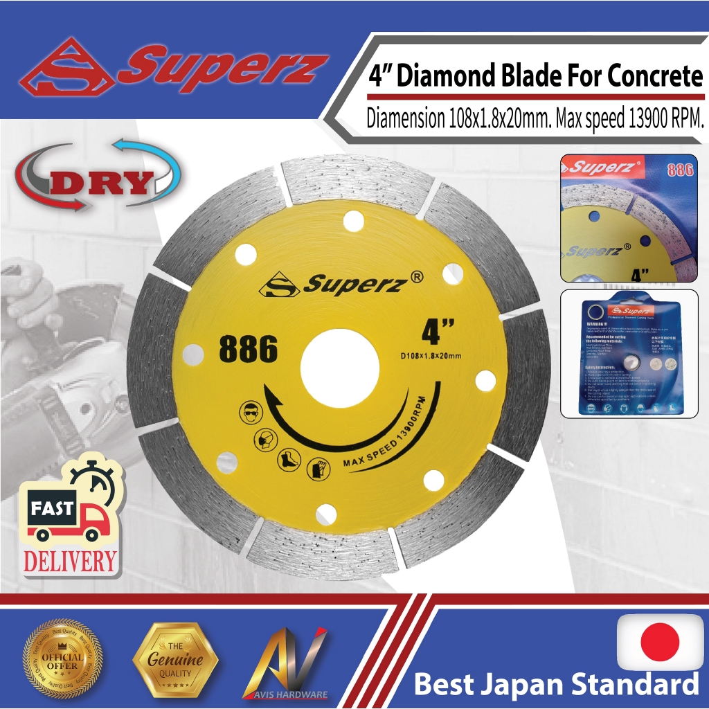 Superz 886 4inch Diamond Blade 108mm DRY Masory-Stone-Concrete