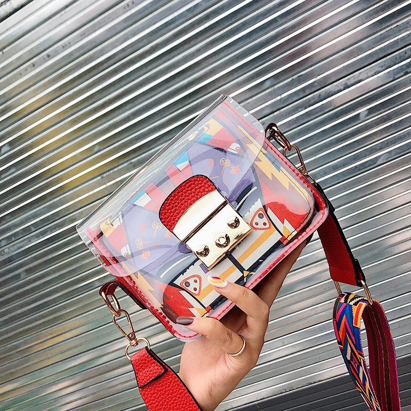 Ready Stock Fashion Women's Bag Transparent Small Square Bag Diagonal Package