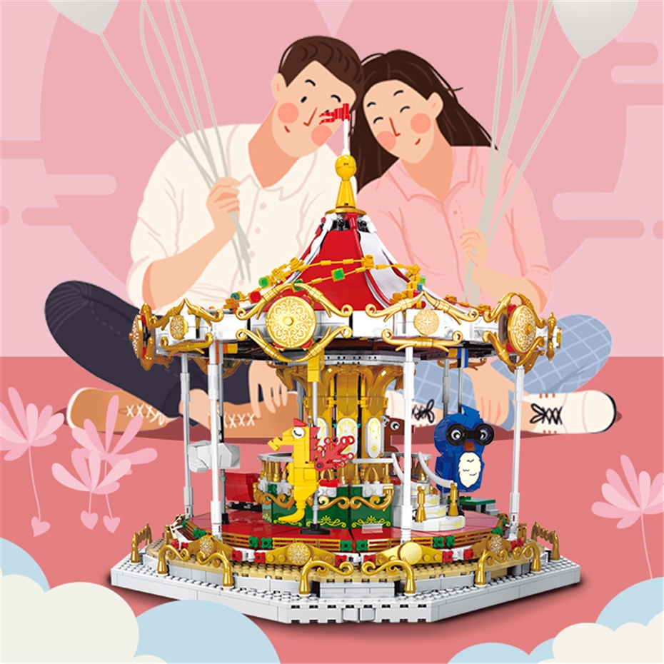 LNO Amusement Park Merry-go-round Horse Diamond Mini Building Nano Blocks Toy