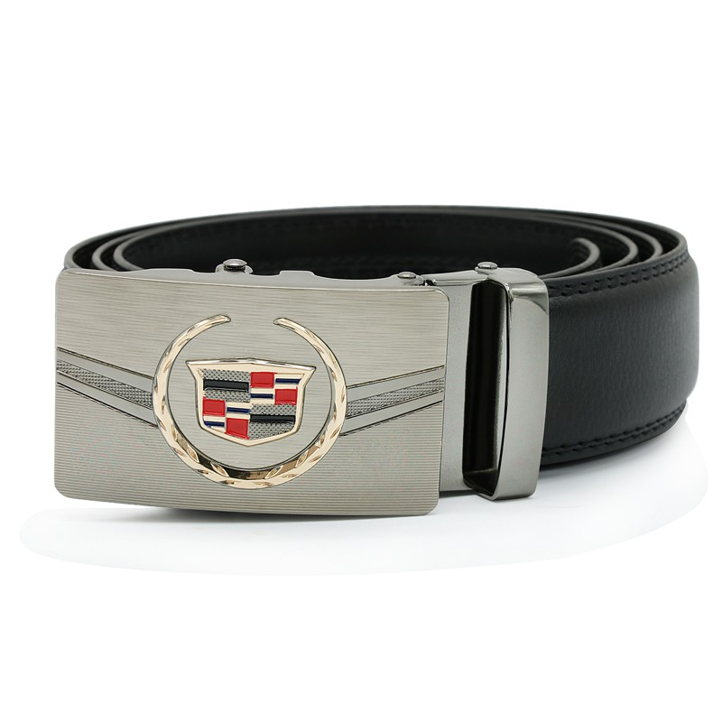 Cow leather Men waist belt  women strap belt Car logo band  for Cadillac auto