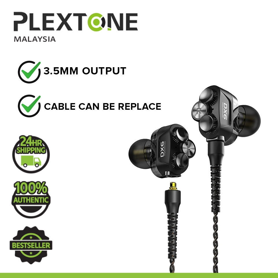 PLEXTONE DX6 3.5mm Jack Hi Res Premium Quality 3 Hybrid Drivers-Armature + Dynamic Drivers MMCX Socket Headphones