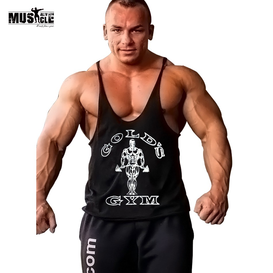 3f2b4fb20a5247 MUSCLE ALIVE Gold Gyms Clothing Tank Top Fitness Men Bodybuilding Stringer  Singl