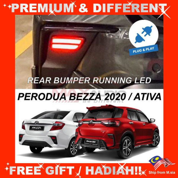 [FREE Gift] PERODUA ATIVA, BEZZA 2020-2021 NIGHT RIDER Plug and Play Running Rear Bumper LED Light with Turn Signal *Pair