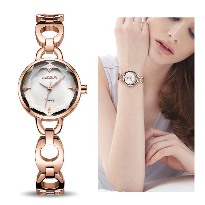 MEGIR Fashion Women Bracelet Watch Rose Gold Alloy Quartz Women ...