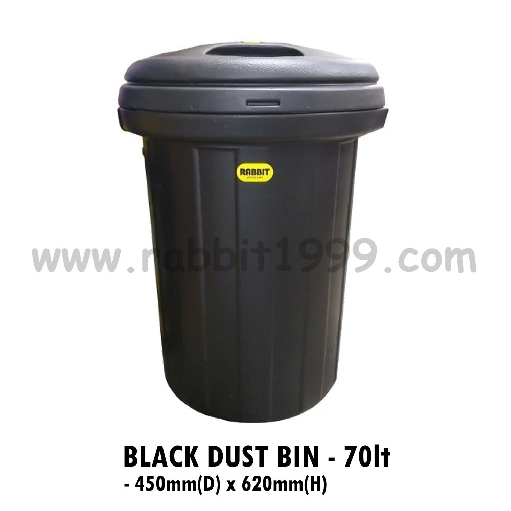 BLACK DUST BIN- 70Lt- heavy duty dustbin/ tong sampah hitam/ black plastic bin/ plastic garbage/ plastic garbage pail