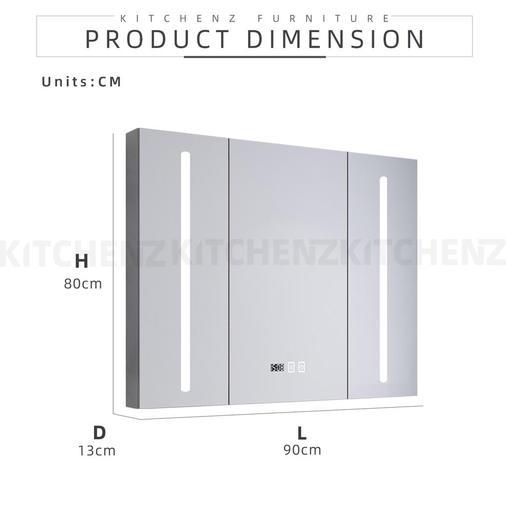 KitchenZ SUS304 Bathroom Mirror Cabinet with LED Lighting / Stainless Steel /90cm/120cm/150cm - HMZ-BR-MC-B80150-LED