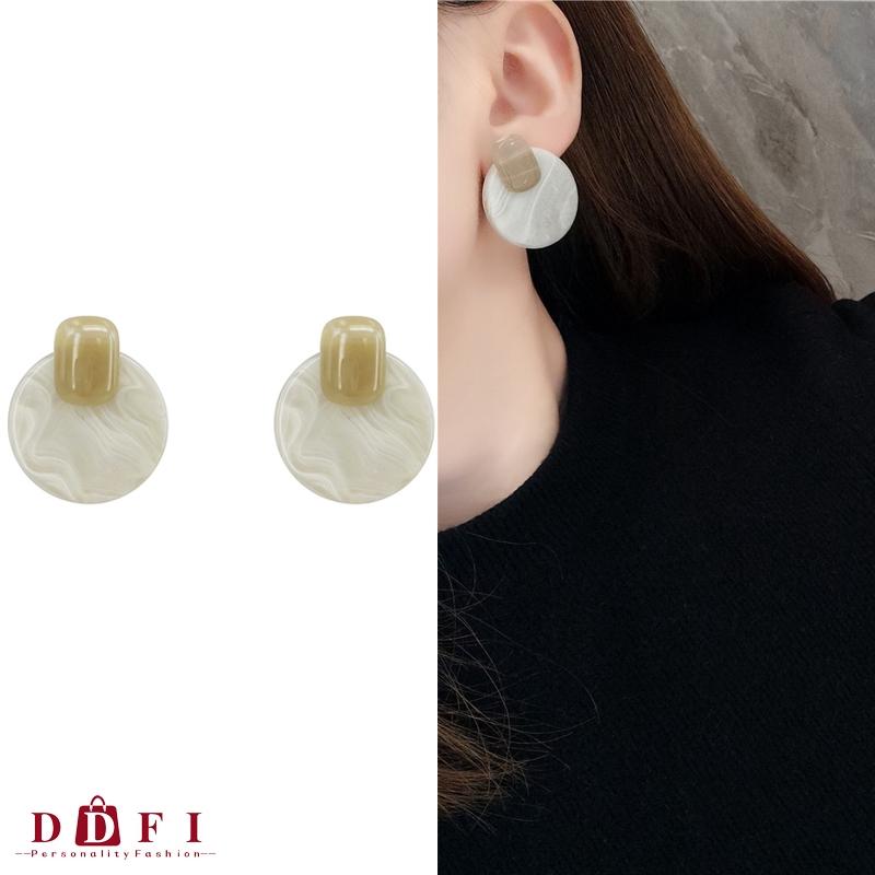 Retro Marble Texture Earrings Acrylic Round Earrings Stylish Earrings Amber//Grey