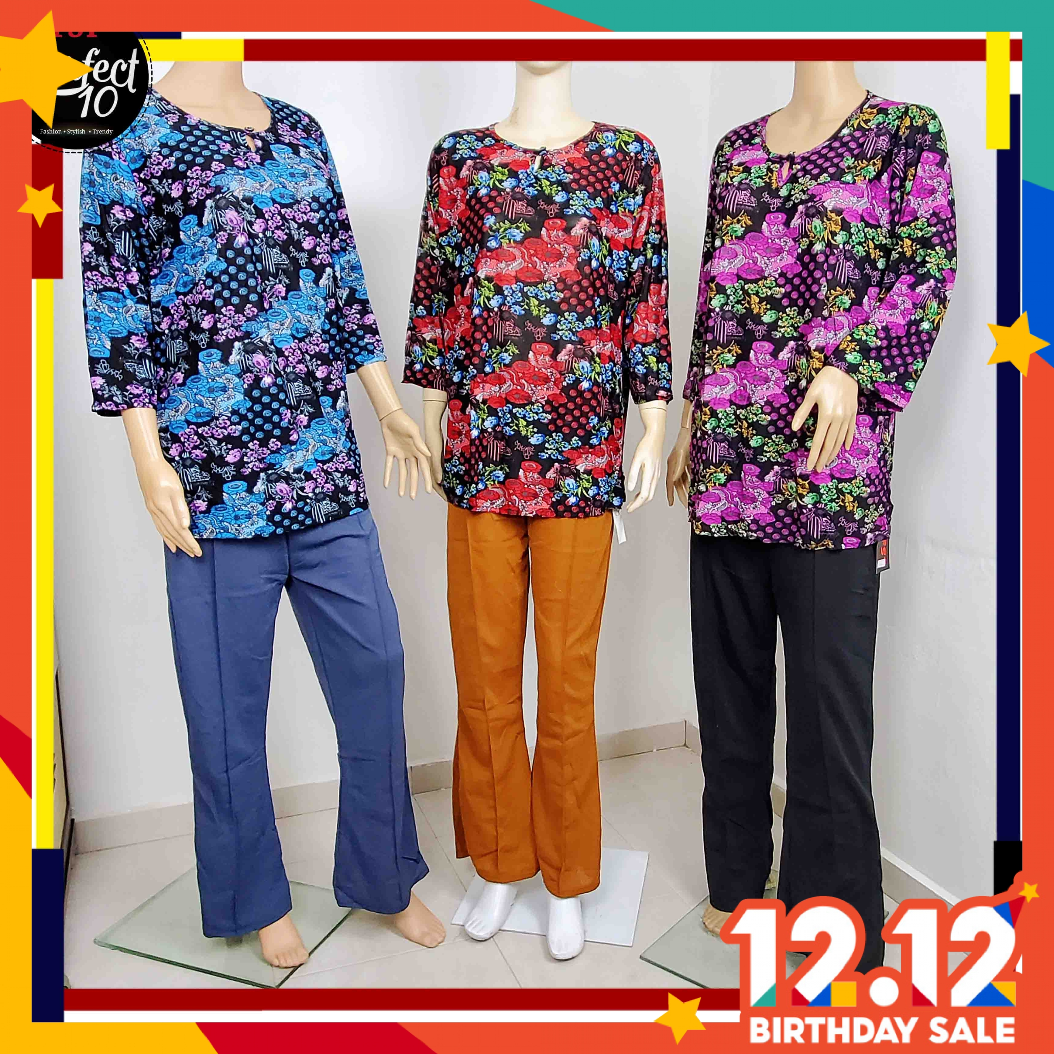 FST Floral Blouse With Front Button / Blaus Bunga Butang Depan [119-4]