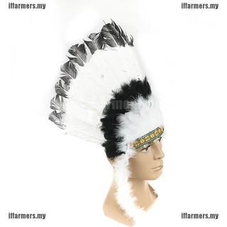 Native American Indian style War Bonnet Green Rooster Feather Headdress