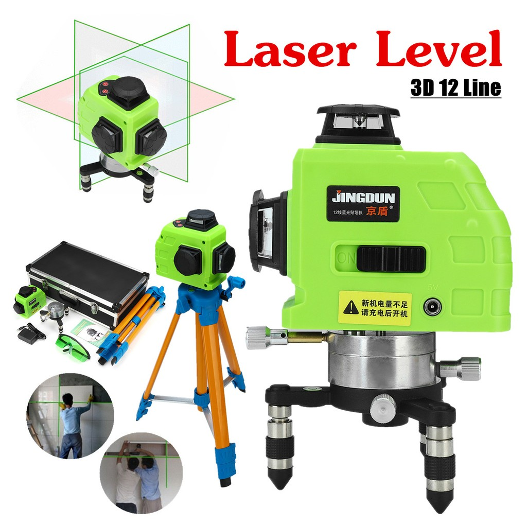 12 Lines 3D Green Rotary Laser Leveling 360°Rotary Cross Measure Tool Tripod