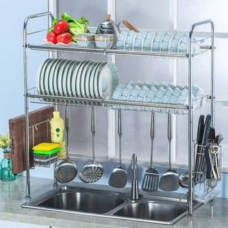 80cm/90cm 2 Layer Stainless Steel Kitchen Rack Sink Top Dish Rack /Rak Pinggan