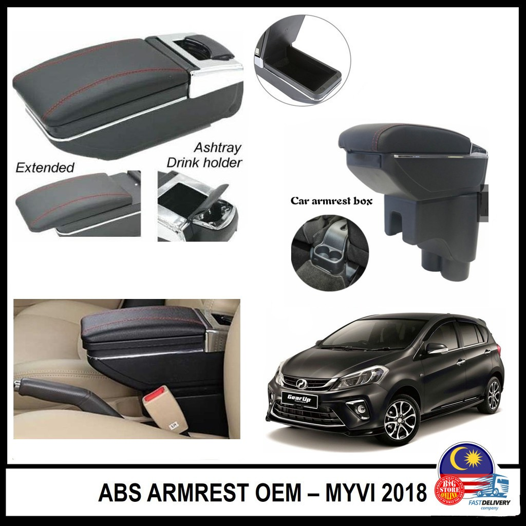 Perodua Myvi New 2017 2018 Armrest Adjustable arm rest Console Box with cup  holder 1 3 1 5 Premium X Advance (Non-USB)