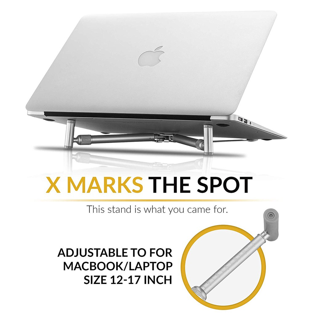 Ergonomic Aluminium Portable Foldable Cooling X-Stand for 12-17 Laptops MacBook Notebook PC
