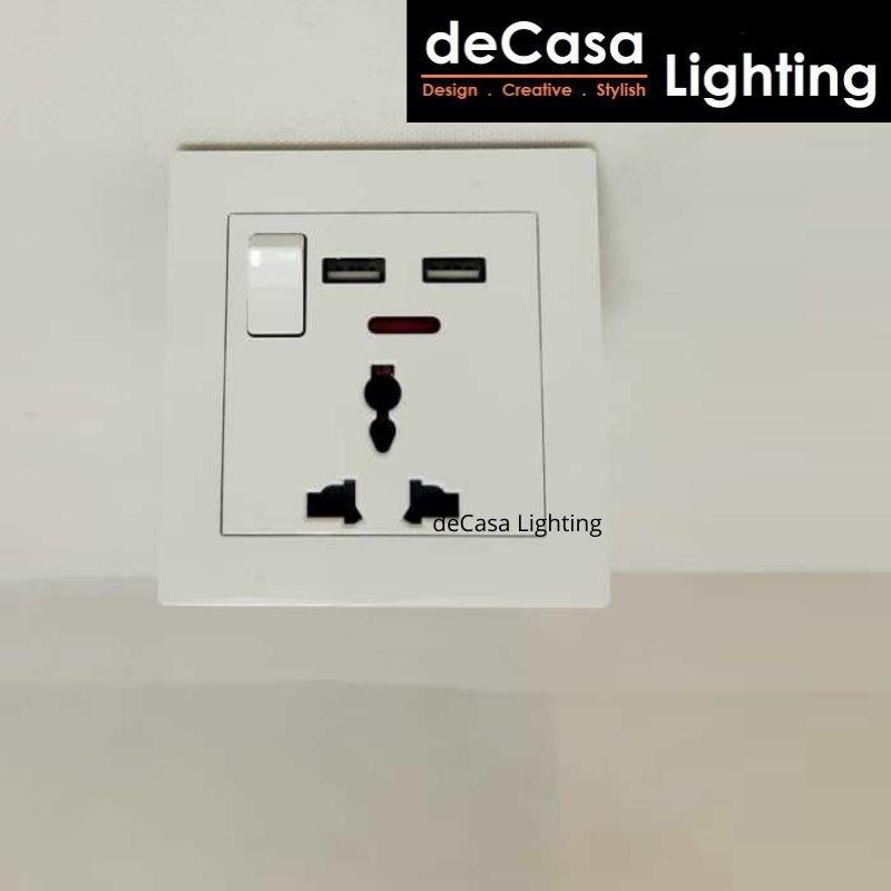 DECASA LIGHTING Nippon II C1 Series 13A Universal Switch Socket with Dual USB (SSO-13A-2USB)
