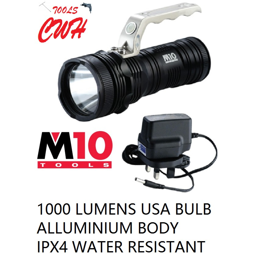 1000 LUMENS LE-500 M10 ALUMINIUM BODY HEAVY DUTY RECHARGEABLE BATTERY 10W HIGH POWER SEARCH LIGHT TORCHLIGH FLASHLIGH