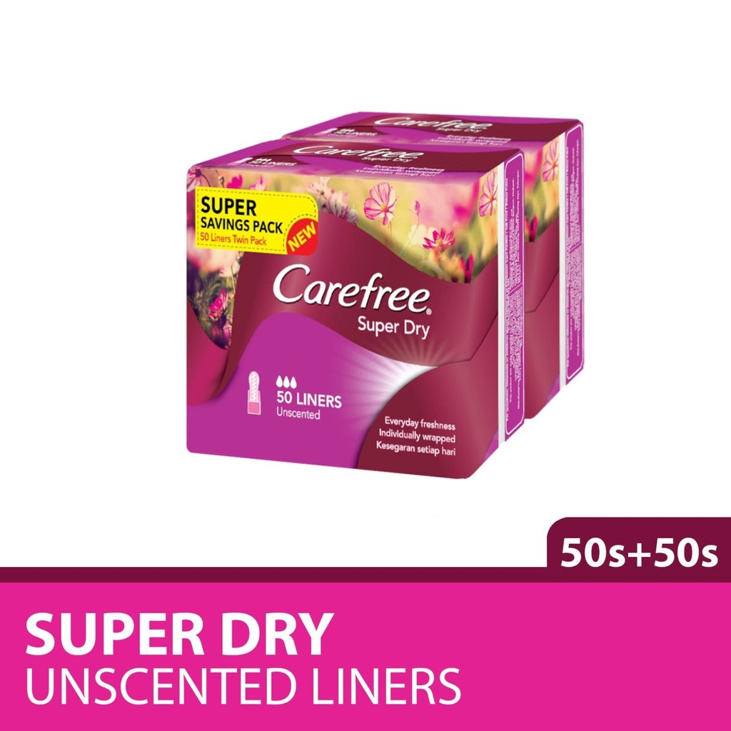 Carefree Super Dry Panty Liner FOC Sani Twin Pack Unscented