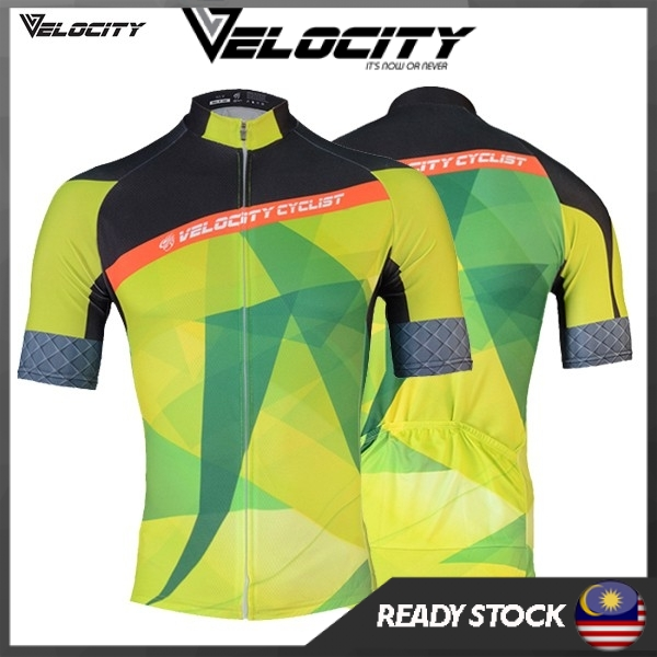 Velocity Green Abstract Short Cycling Jersey-043