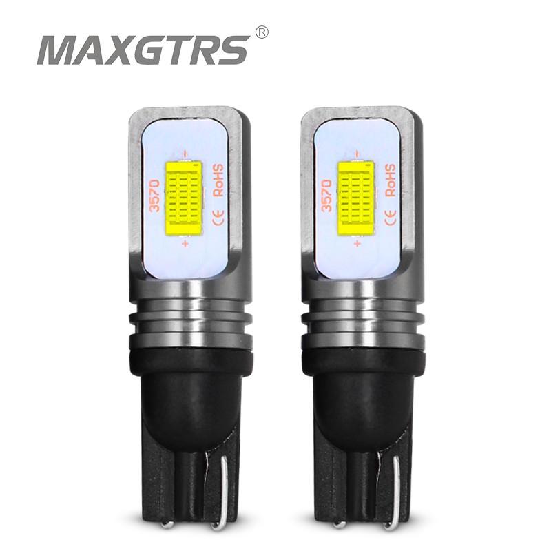 2PC T10 Wedge 194 2825 168 Light Chrome Bulb 12V 5W Amber Signal Side Marker