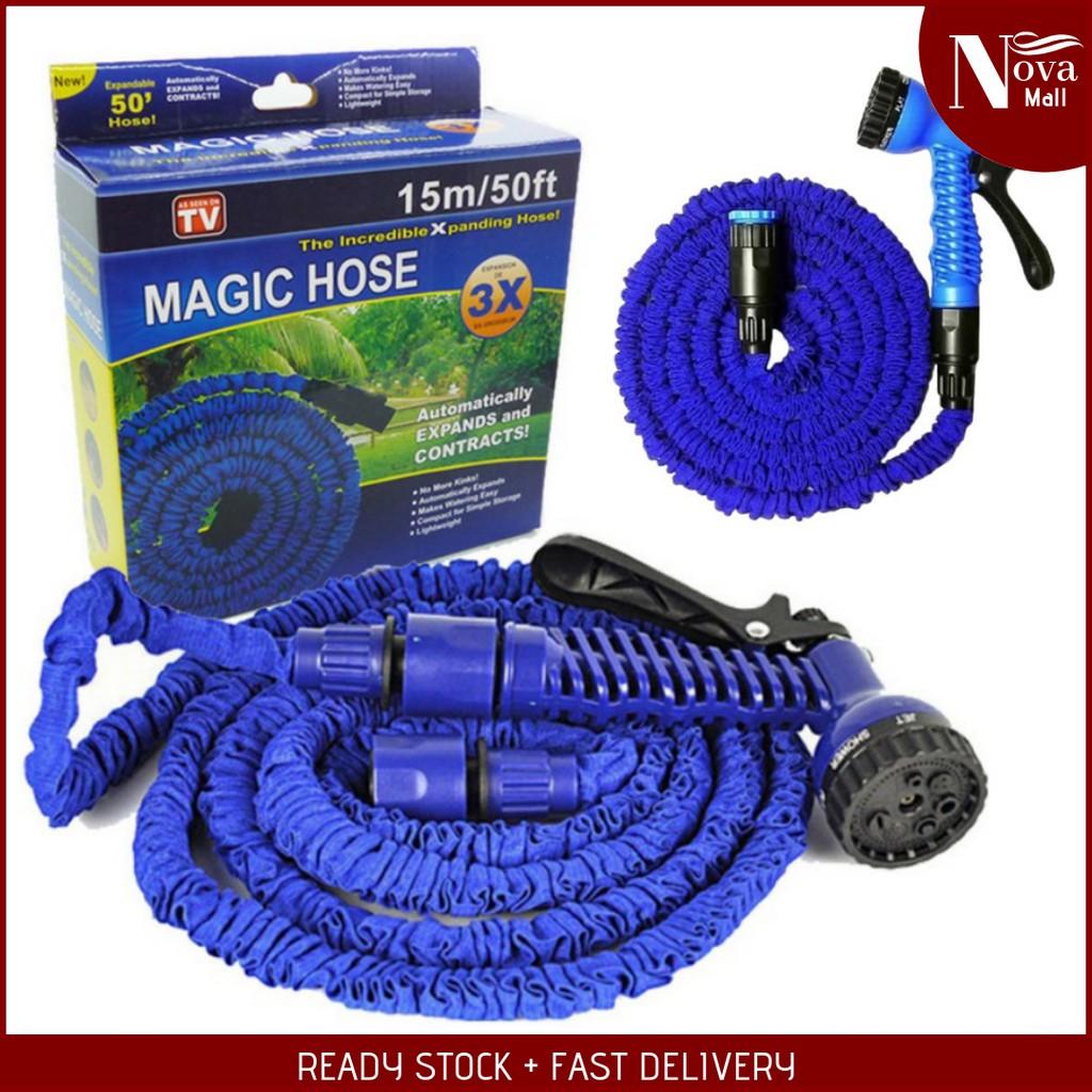 Magic Hose High Pressure Car Garden Water Pipe Gun Adjustable Flexible Paip  Hos Pencuci Kereta