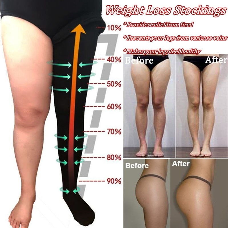 Ladies Stockings Pressure Body Shaping High Waist Leg Slimming Thigh Shaper Reduce Swelling Support