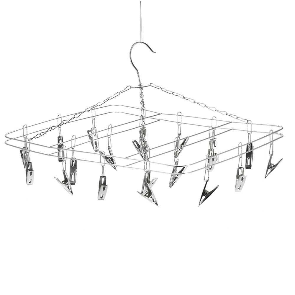 Clothes Hanger 20 Clips Stainless Steel Clothespins Clothes Drying Rack Clothes Hanger (Standard)