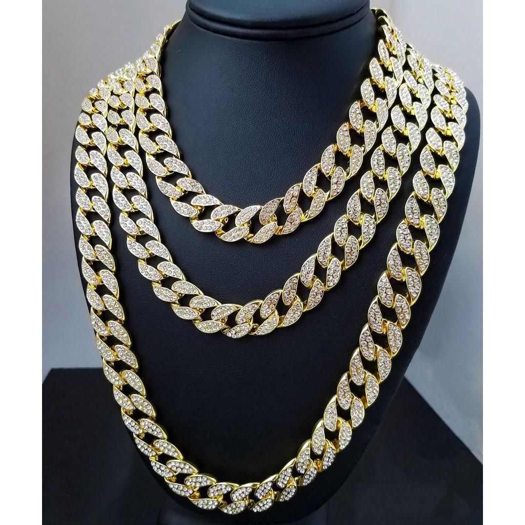bdabd8614da32 Iced Out Rhinestone Crystal Gold Silver Cuban Link Chain Men's Hip hop  Necklace