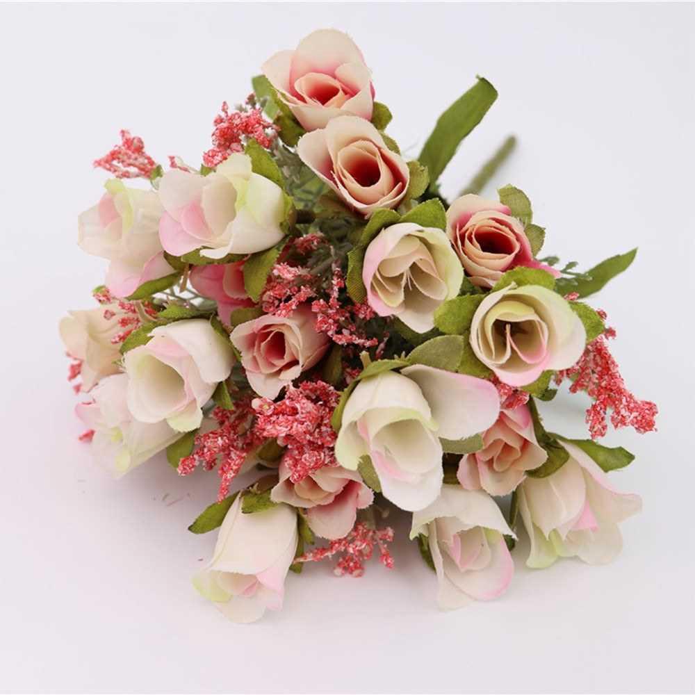 20 Heads 1Pc Artificial Rose Flower Bouquet Home Decor Wedding Mini Rose Silk Flower Romantic Wedding Party Supplies (L