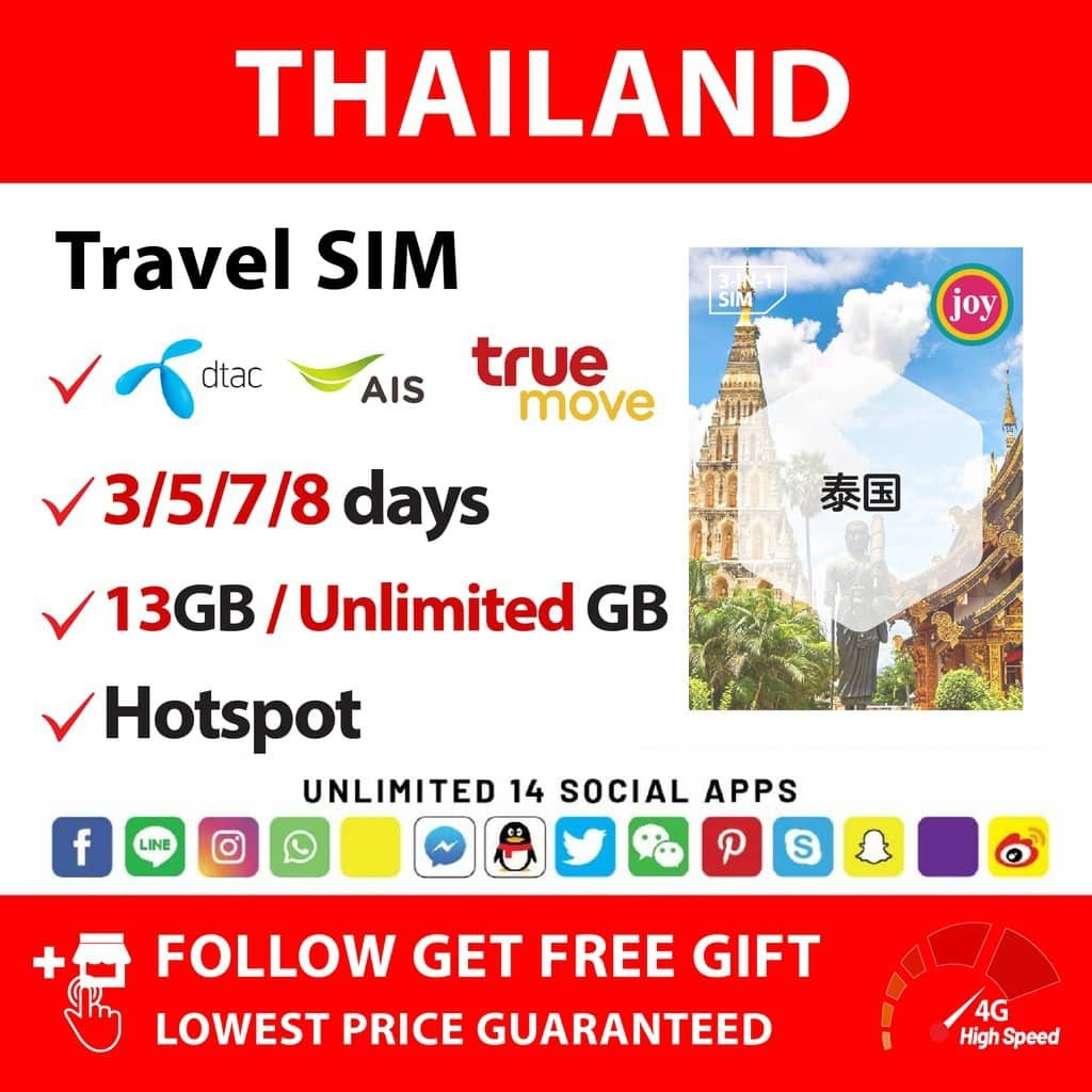 Thailand (Truemove: 8Days 13GB) Travel Prepaid Sim Card