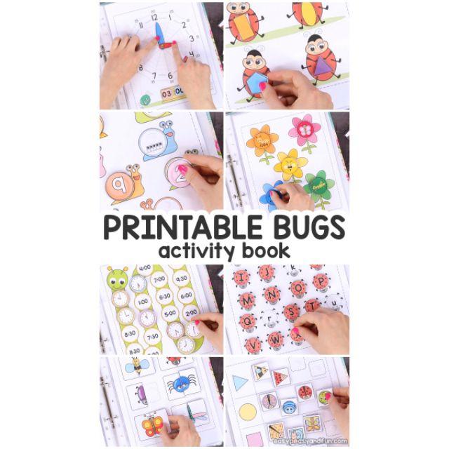 Montessori Activity book, quiet book printable (bugs Series)