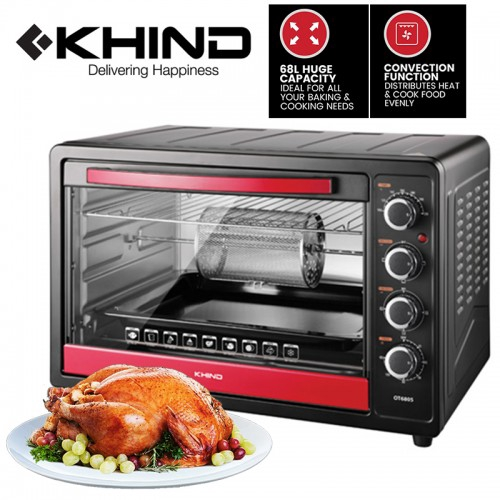 READY STOCK  TEEMO KHIND 68L Electric Oven With Convection & Rotisserie (OT6805)