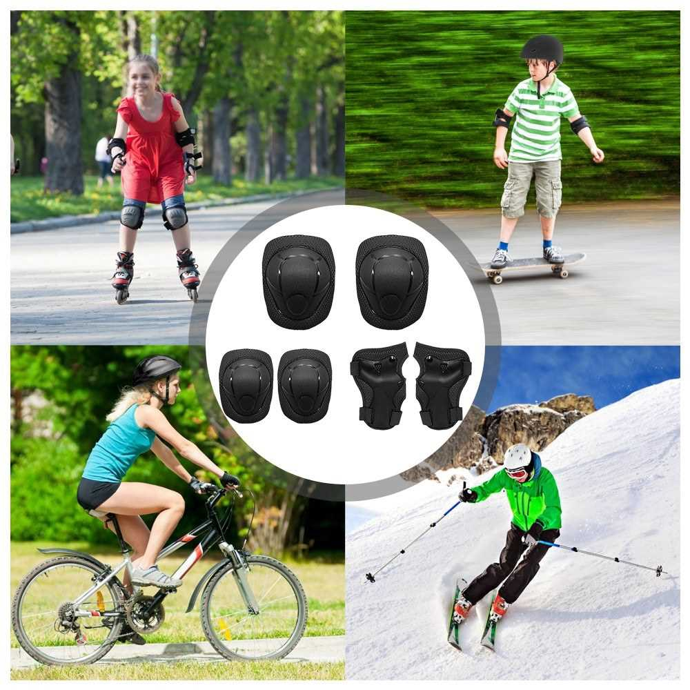 Kids Knee Pads Set 6 in 1 Protective Gear Kit Knee Elbow Pads with Wrist Guards Children Safety Protection Pads for Rol