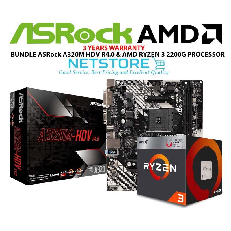 PWP ASRock A320M-HDV R4 0 mATX MOTHERBOARD & AMD RYZEN 3 2200G PROCESSOR