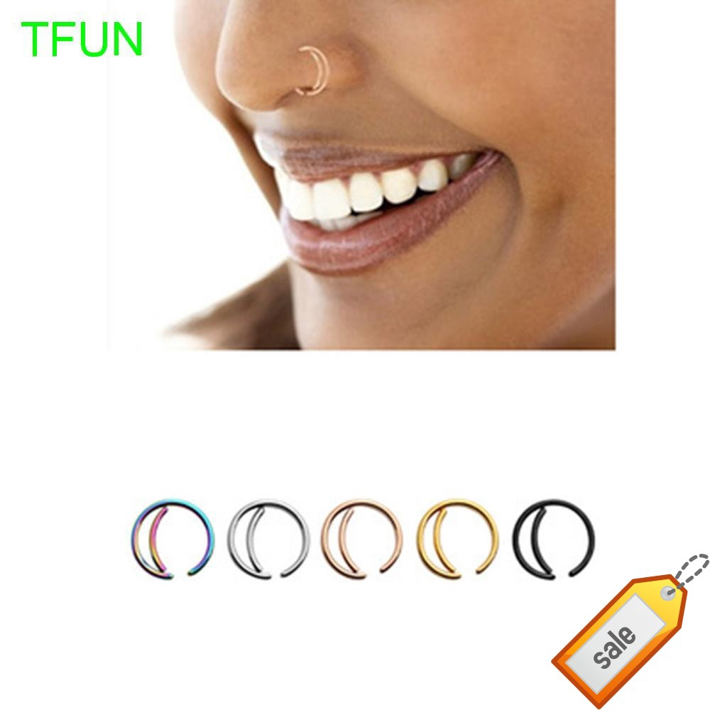 Septum Ring Hoop Indian Small Nose Jewelry Moon Nose Ring Shopee