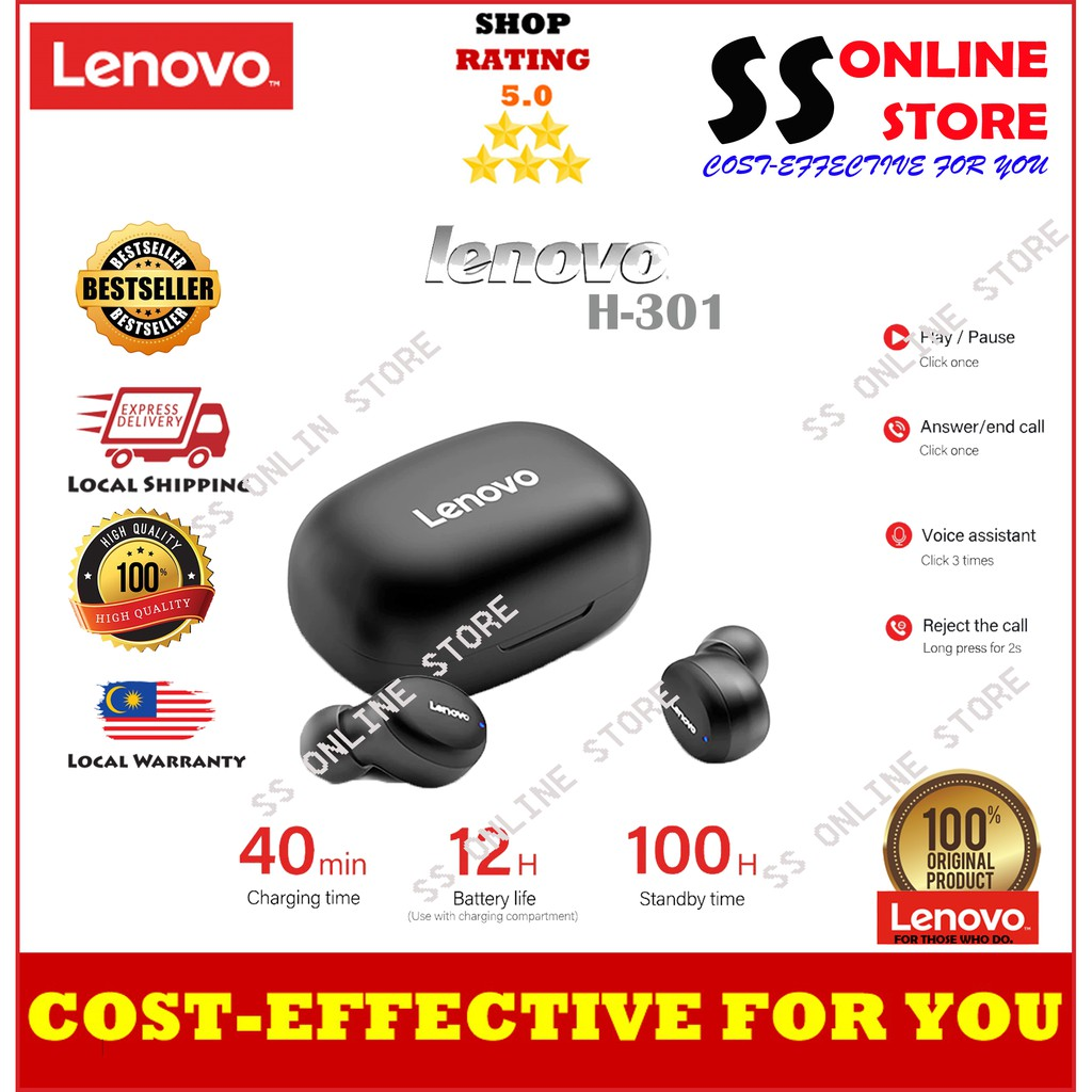 Lenovo H301 TWS Wireless Bluetooth 5.0 Earphone Touch Control Headset 12H Battery Life Sport Earbuds With Mic Charging C