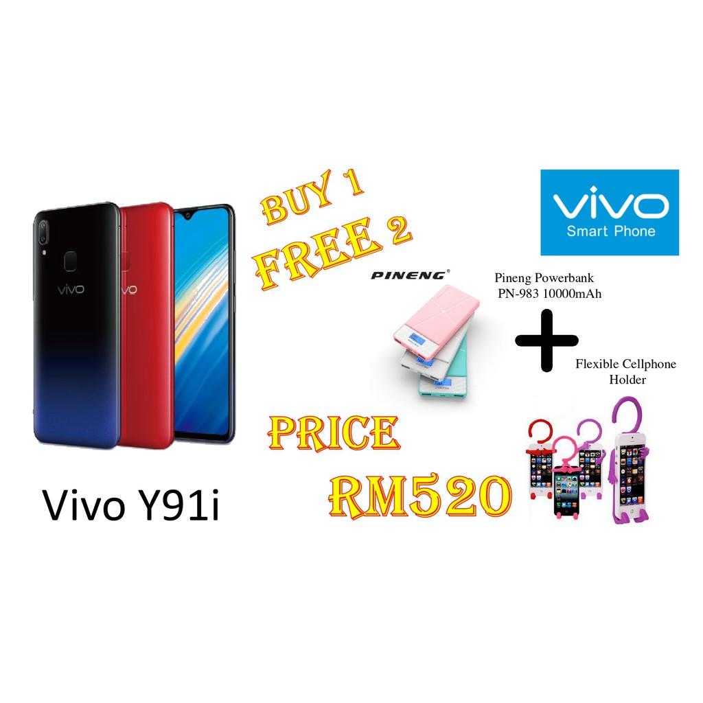 100% ORIGINAL VIVO PHONE Y91i (2GB RAM + 32GB ROM)(FREE PINENG POWERBANK PN-983 + FLEXIBLE CELLPHONE HOLDER)