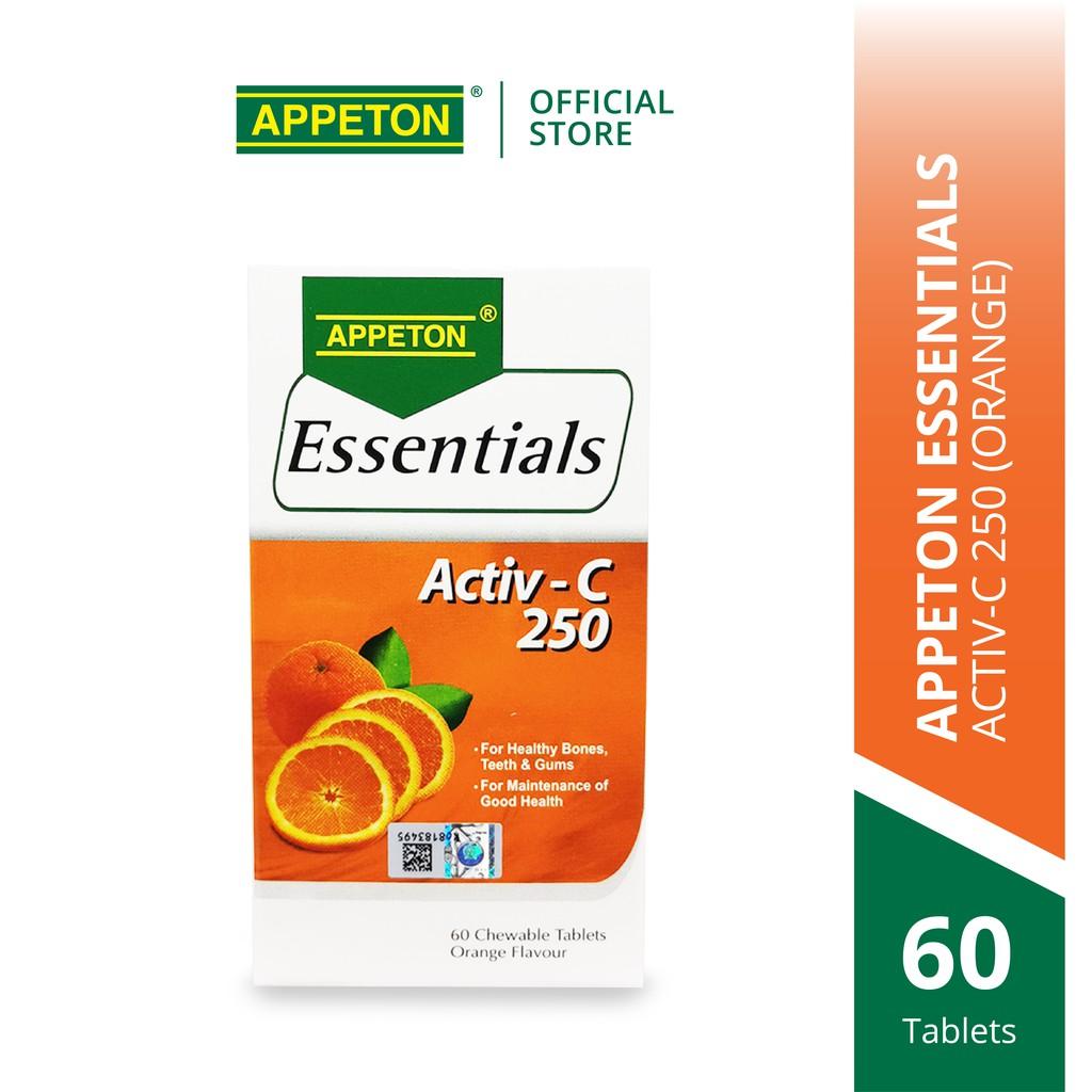APPETON Essentials Activ-C 250 (Orange) (60's) for Immunity & Antioxidant - Vitamin C for Adult