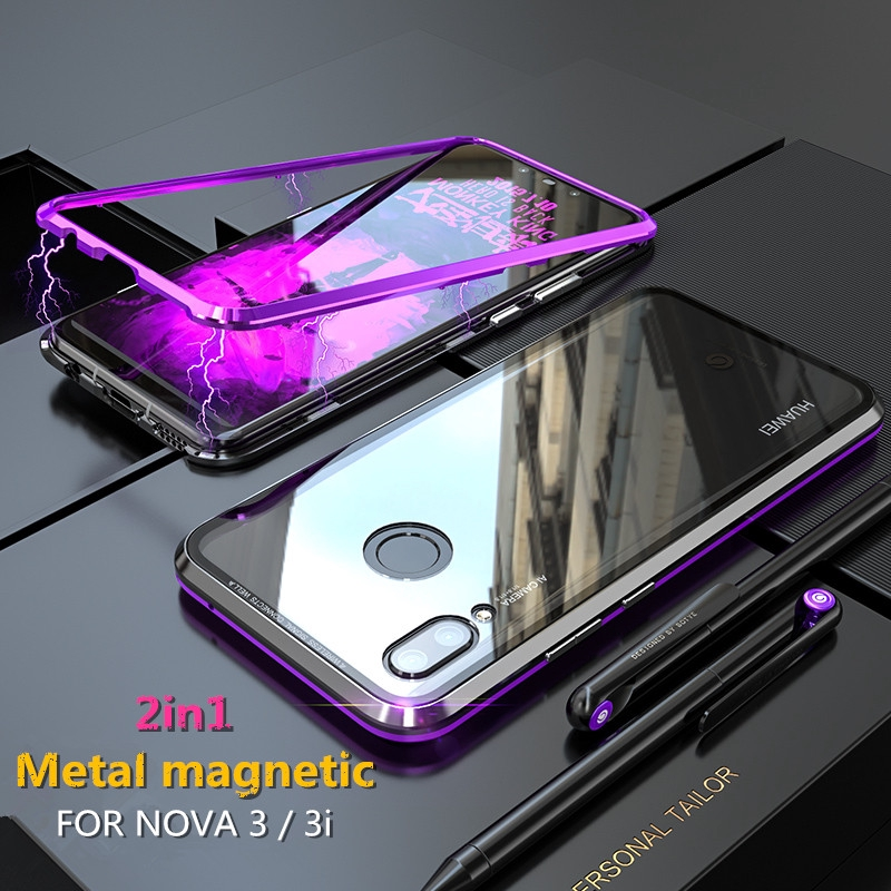 low priced 00566 5ca46 Huawei Nova 3 / 3i Magnetic Adsorption Metal Bumper Case Tempered Glass  Cover