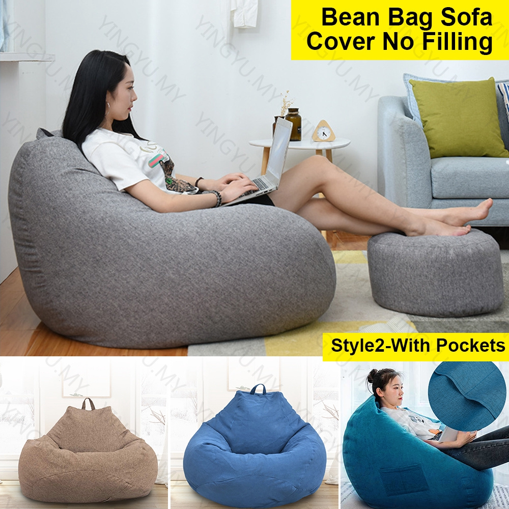 S M L Stylish Bedroom Furniture Solid Color Single Bean Bag Lazy Sofa Cover Diy Filled Inside No Filling Lazy Sofa Cover Shopee Malaysia