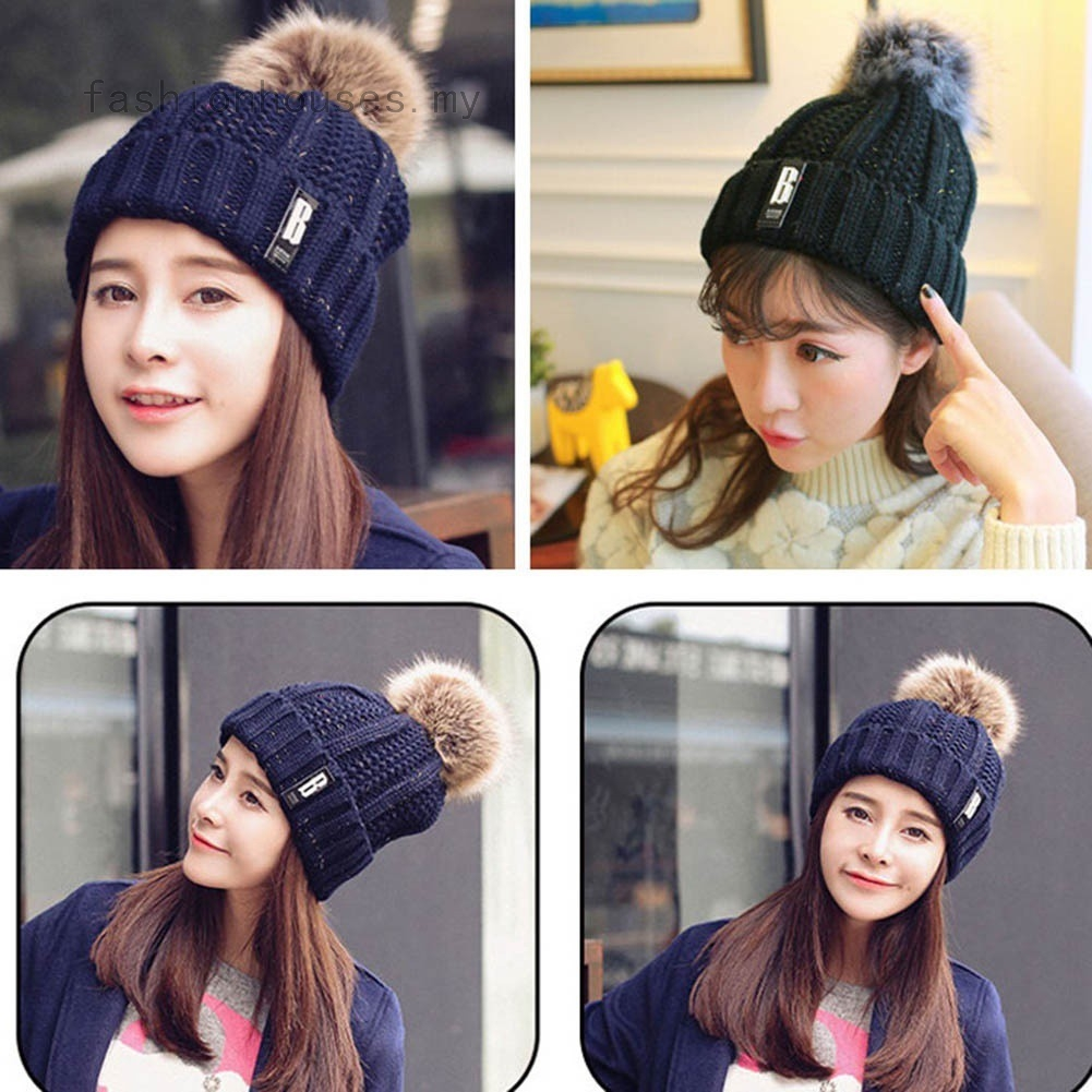 724b0760c Pom Poms Fur Ball Keep Warm Fur Hats Winter Hat for Women Girl 's Wool Hat  Knitted Beanies Cap Thick Female Cap