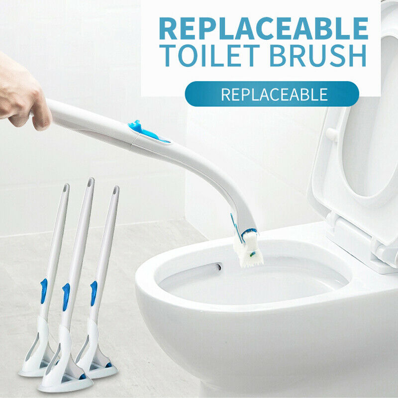 Disposable Toilet Brush Cleaning Scrubber Set Replaceable Head Bowl Home UK