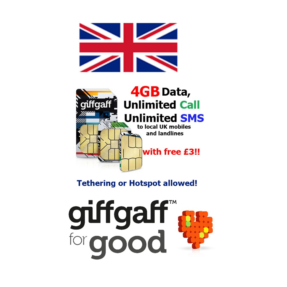 UK Sim Card 4GB Data+Umlimited Call & SMS for 30 days (roam in Europe)